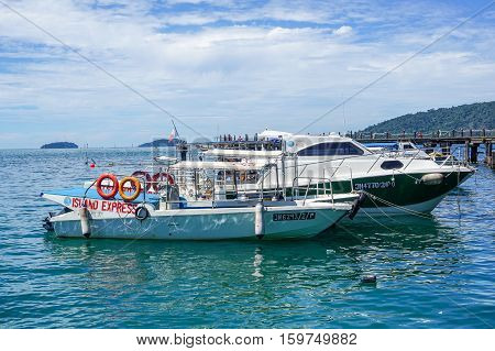 Kota Kinabalu,Sabah-Nov 28,2016:Various of boats at Jesselton Point Jetty,Kota Kinabalu,Sabah.Its provided the boat terminal for the Tunku Abdul Rahman Marine Park & Gayana Island for tourists.