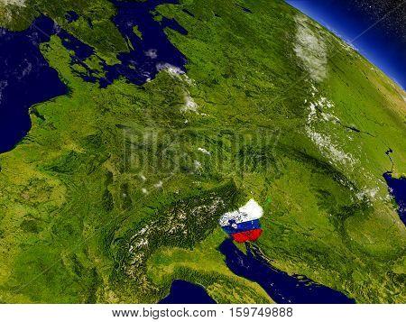 Slovenia With Embedded Flag On Earth