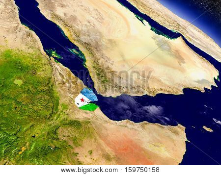 Djibouti With Embedded Flag On Earth