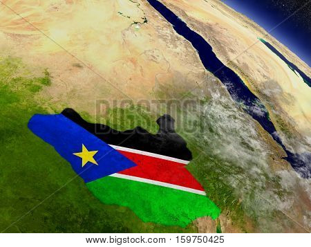 South Sudan With Embedded Flag On Earth