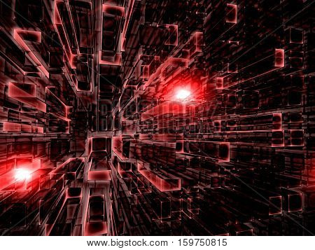 Abstract tecnology background - computer-generated 3d illustration. Fractal geometry: red rectangles, stretching to the horizon. Industrial, technology or virtual reality concept.