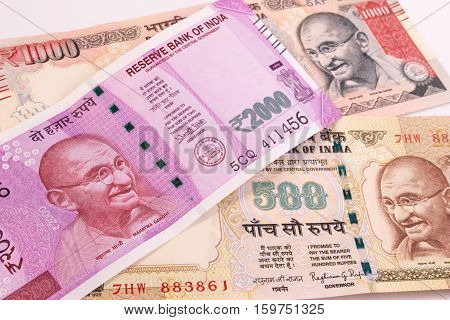 2000 Rupee New Indian Currency Over 500 Rupee And 1000 Rupee.
