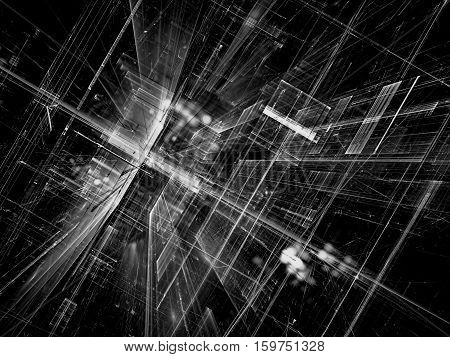 Abstract future technology background - computer-generated 3d illustration. Fractal art: black and white glass room or street of surreal city with light effects. Hi-tech or virtual reality concept.