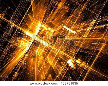 Abstract future technology background - computer-generated 3d illustration. Fractal art: glass room or street of surreal city with golden light effects. Hi-tech or virtual reality concept.