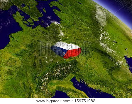 Czech Republic With Embedded Flag On Earth