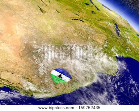 Lesotho With Embedded Flag On Earth