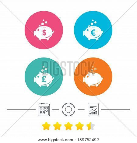 Piggy bank icons. Dollar, Euro and Pound moneybox signs. Cash coin money symbols. Calendar, cogwheel and report linear icons. Star vote ranking. Vector