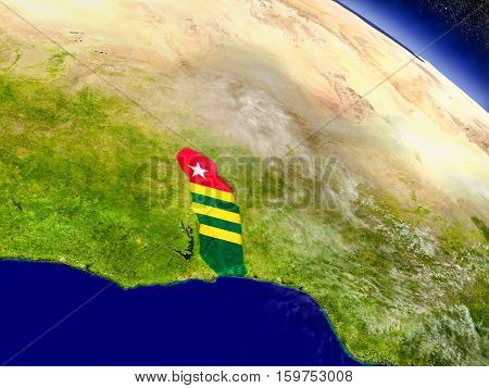 Togo With Embedded Flag On Earth