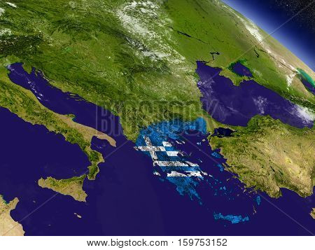 Greece With Embedded Flag On Earth
