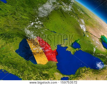 Romania With Embedded Flag On Earth