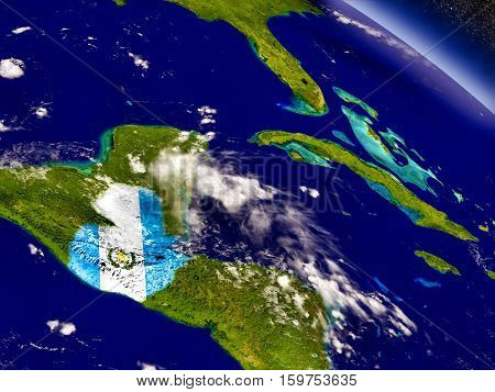 Guatemala With Embedded Flag On Earth
