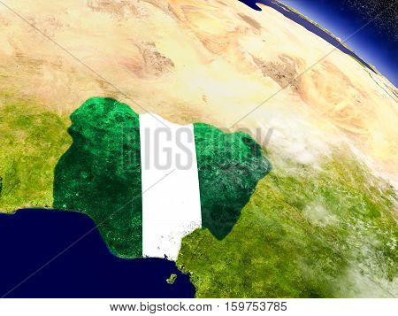 Nigeria With Embedded Flag On Earth