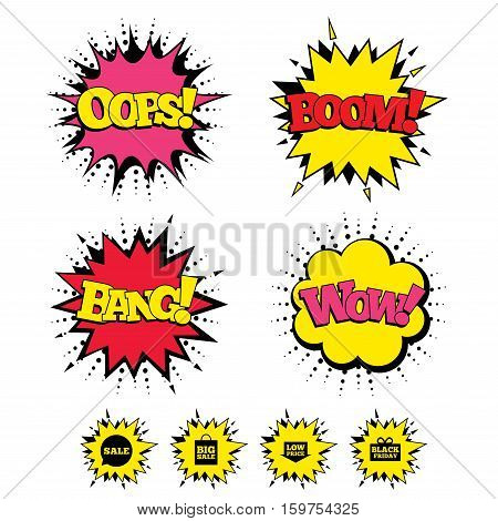 Comic Boom, Wow, Oops sound effects. Sale speech bubble icon. Black friday gift box symbol. Big sale shopping bag. Low price arrow sign. Speech bubbles in pop art. Vector