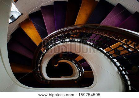 high angle shot of colorful spiral staircase