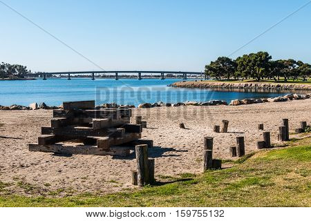 Wooden structure in play area at Vacation Isle Park on Mission Bay in San Diego, California.