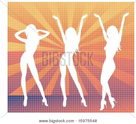 sexy dancing females silhouette