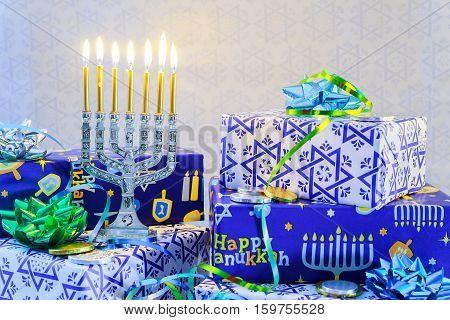 Jewish Holiday Hanukkah Still Life Composed Of Elements The Chanukah  Festival.