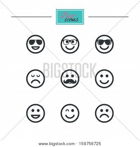 Smile icons. Happy, sad and wink faces signs. Sunglasses, mustache and laughing lol smiley symbols. Black flat icons. Classic design. Vector