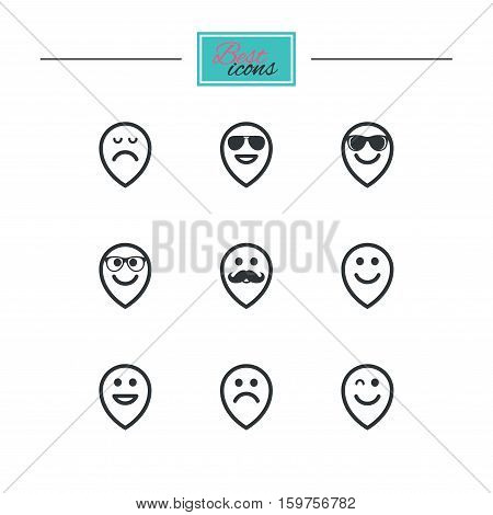 Smile pointers icons. Happy, sad and wink faces signs. Sunglasses, mustache and laughing lol smiley symbols. Black flat icons. Classic design. Vector