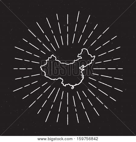 China Vector Map Outline With Vintage Sunburst Border. Hand Drawn Map With Hipster Decoration Elemen