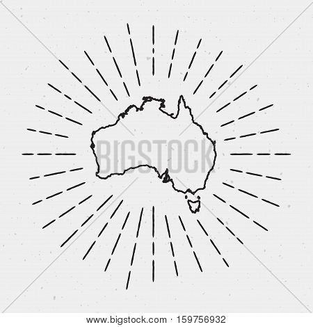 Vector Australia Map Outline With Retro Sunburst Border. Hand Drawn Hipster Decoration Element. Blac
