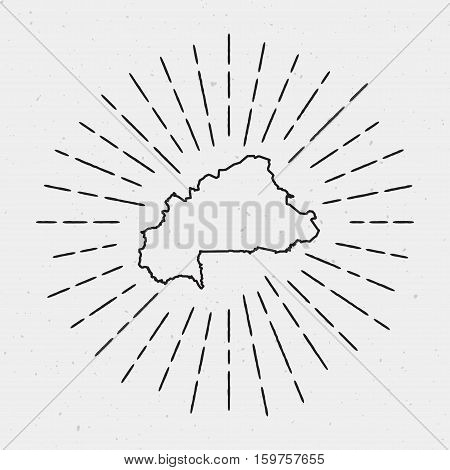 Vector Burkina Faso Map Outline With Retro Sunburst Border. Hand Drawn Hipster Decoration Element. B