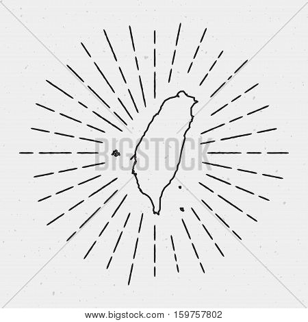 Vector Taiwan, Republic Of China Map Outline With Retro Sunburst Border. Hand Drawn Hipster Decorati
