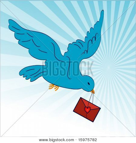 bird carrying envelope with heart (burst behind)