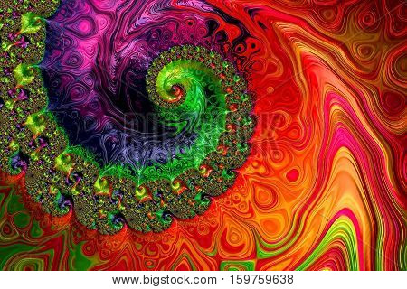 Colourful spiral background - abstract computer-generated image. Fractal art: intricate helix with textured surface. For covers, puzzles, banners.