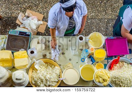 Women Selling Butter And Cheese At The Bazaar