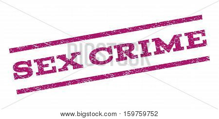 Sex Crime watermark stamp. Text tag between parallel lines with grunge design style. Rubber seal stamp with unclean texture. Vector purple color ink imprint on a white background.