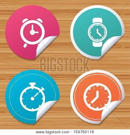 Round stickers or website banners. Mechanical clock time icons. Stopwatch timer symbol. Wake up alarm sign. Circle badges with bended corner. Vector