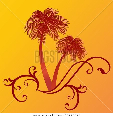 palm trees with funky foliage waves