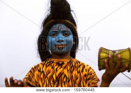 Children painted near Raj Ghat in Varanasi, India