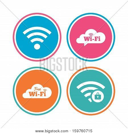 Free Wifi Wireless Network cloud speech bubble icons. Wi-fi zone locked symbols. Password protected Wi-fi sign. Colored circle buttons. Vector