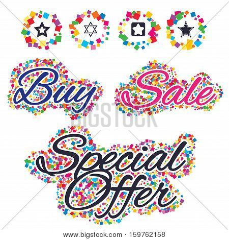 Sale confetti labels and banners. Star of David icons. Sheriff police sign. Symbol of Israel. Special offer sticker. Vector