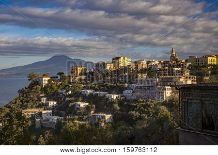 residence home and hotel in sorrento road side view mediterranean sea south italy