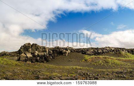 Rock landscape near the bridge between continents Reykjanes