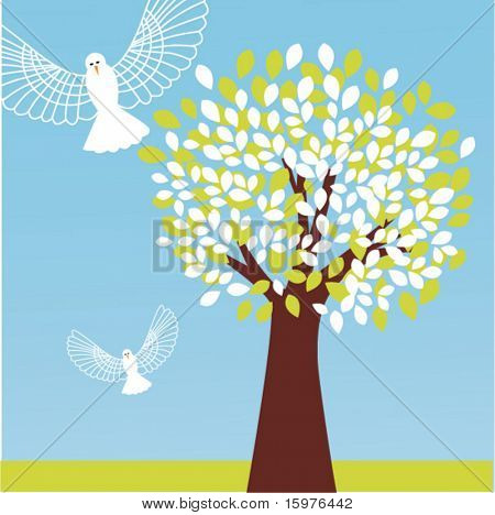 tree with owls in flight