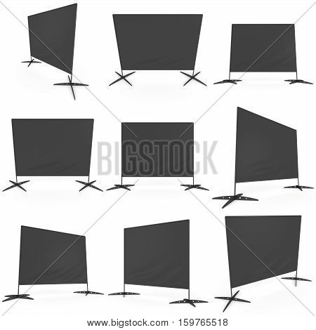 Billet press wall with black screen chroma key banner set. Mobile trade show booth white and blank. 3d render isolated on white background. High Resolution Template for your design.