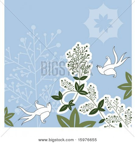 birds with berry vine and tree