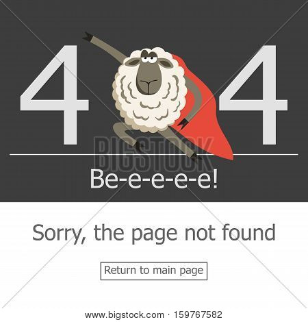 Superhero sheep and error 404 page. Illustration error page not found. A modern 404 page with super hero stubborn lamb. Template reports that the page is not found.
