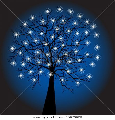 tree decorated with star lights