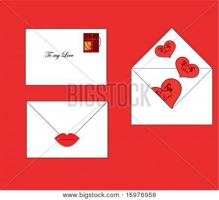 valentine elements - envelope lips hearts stamp layered for easy editing