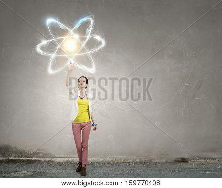 Attractive student scientist . Mixed media