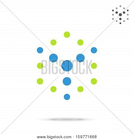 Dotted cube logo template isometric vector logo illustration isolated on white background eps 10