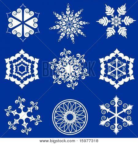 9 diferentes flocos de neve