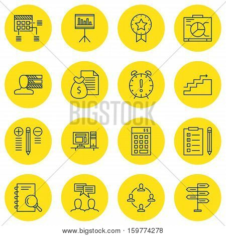 Set Of 16 Project Management Icons. Can Be Used For Web, Mobile, UI And Infographic Design. Includes Elements Such As Office, Reminder, Discussion And More.