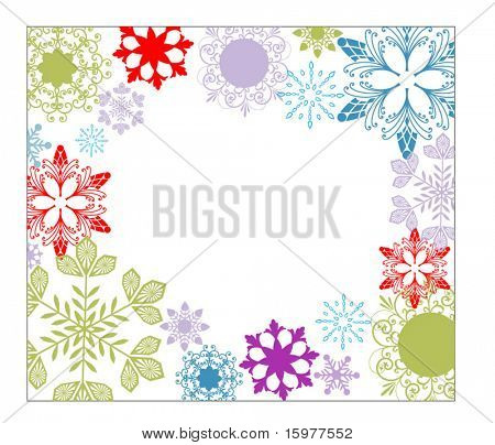 colorful snowflake frame