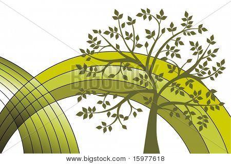 environmental tree with green rainbow